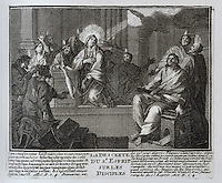 The descent of the Holy Spirit to the disciples at Pentecost, from an illustrated bible, 1763, in the Joanina Library, or Biblioteca Joanina, a Baroque library built 1717-28 by Gaspar Ferreira, part of the University of Coimbra General Library, in Coimbra, Portugal. The engravings are after drawings by Raphael and other masters, with words by Claude Hernissant and printed by Guillaume Deprez. The Casa da Livraria was built during the reign of King John V or Joao V, and consists of the Green Room, Red Room and Black Room, with 250,000 books dating from the 16th - 18th centuries. The library is part of the Faculty of Law and the University is housed in the buildings of the Royal Palace of Coimbra. The building is classified as a national monument and UNESCO World Heritage Site. Picture by Manuel Cohen