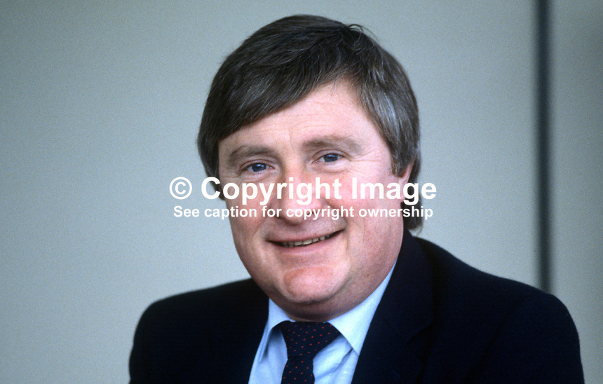 Bill McEvoy, marketing manager, Belfast Airports Ltd, February 1984, 19840015BME..Copyright Image from Victor Patterson, 54 Dorchester Park, Belfast, UK, BT9 6RJ..Tel: +44 28 9066 1296.Mob: +44 7802 353836.Voicemail +44 20 8816 7153.Skype: victorpattersonbelfast.Email: victorpatterson@me.com.Email: victorpatterson@ireland.com (back-up)..IMPORTANT: If you wish to use this image or any other of my images please go to www.victorpatterson.com and click on the Terms & Conditions. Then contact me by email or phone with the reference number(s) of the image(s) concerned.
