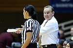 22 March 2015: MSU head coach Vic Schaefer talks to referee Pualani Spurlock. The Duke University Blue Devils hosted the Mississippi State University Bulldogs at Cameron Indoor Stadium in Durham, North Carolina in a 2014-15 NCAA Division I Women's Basketball Tournament second round game. Duke won the game 64-56.