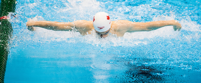 Tyler Mrak, of Surrey, BC, competes in the men's 100m butterfly S13 classification heats at the Olympic Aquatics Stadium during the Paralympic Games in Rio de Janeiro, Brazil, on September 8, 2016.