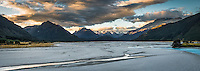 Sunset over Dart River with Southern Alps in background, UNESCO World Heritage Area, Central Otago, New Zealand, NZ