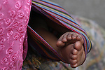 Detail of a baby's feet. San Juan Sacatep&eacute;quez, Guatemala. June 30, 2012.