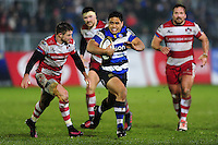 Ben Tapuai of Bath Rugby goes on the attack. Anglo-Welsh Cup match, between Bath Rugby and Gloucester Rugby on January 27, 2017 at the Recreation Ground in Bath, England. Photo by: Patrick Khachfe / Onside Images