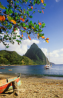 St. Lucia. Pitons near Soufriere. Beach and yacht at anchor. Caribbean