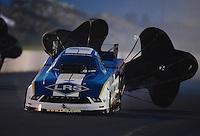 May 18, 2012; Topeka, KS, USA: NHRA funny car driver Tim Wilkerson during qualifying for the Summer Nationals at Heartland Park Topeka. Mandatory Credit: Mark J. Rebilas-