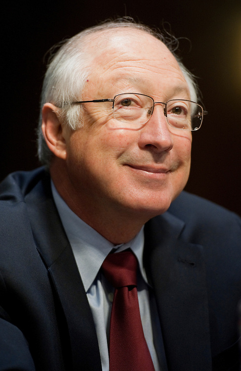 """UNITED STATES - FEBRUARY 29:  Interior Secretary Ken Salazar prepares to testify before a Senate Interior, Environment, and Related Agencies Subcommittee hearing in Dirksen Building entitled """"The FY2013 Budget Request for the Department of Interior.""""  (Photo By Tom Williams/CQ Roll Call)"""