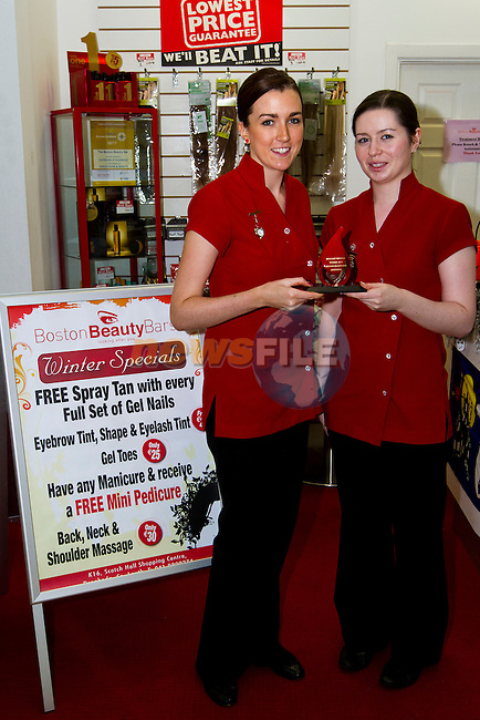 Tracy O Grady and Danielle Kennedy of Boston Beauty Bar, with their mystery shopper 2011 award..Picture: Shane Maguire / www.newsfile.ie.