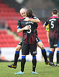 St Johnstone v Inverness Caledonian Thistle....22.02.14    SPFL<br /> David Raven celebrates with Graeme Shinnie<br /> Picture by Graeme Hart.<br /> Copyright Perthshire Picture Agency<br /> Tel: 01738 623350  Mobile: 07990 594431