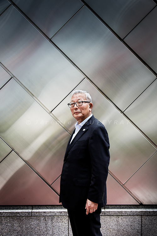Tokyo, June 17 2014 - Portrait of Shohachi SAKAI, former manager of SONY and now CEO of Montreux Sounds Entertainement Japan, in the Yurakucho area.