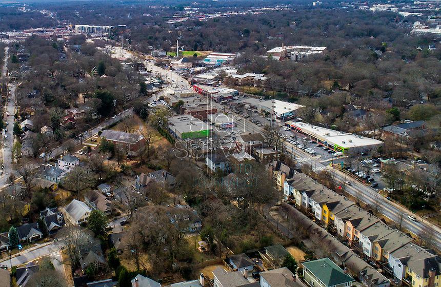 Aerial view of the Little Five Points area of Atlanta, GA. The main road running bottom right to top left is Moreland Avenue.