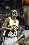 .Seattle SuperSonics  Ray Allen reacts to a loose ball foul against the Los Angeles Clippers in the fourth period on Friday, April 14, 2006 at the Key Arena in Seattle. The Clippers beat the SuperSonics 101-97.  Jim Bryant Photo. &copy;2010. All Rights Reserved.