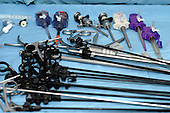 A selection of laparoscopic instruments and ports. Royalty Free
