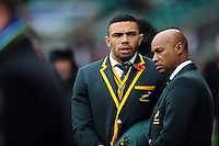 Bryan Habana of South Africa looks on during the pre-match warm-up. Old Mutual Wealth Series International match between England and South Africa on November 12, 2016 at Twickenham Stadium in London, England. Photo by: Patrick Khachfe / Onside Images