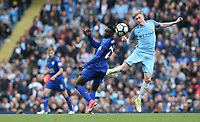 Manchester City's Kevin De Bruyne and Leicester City's Wilfred Ndidi<br /> <br /> Photographer Stephen White/CameraSport<br /> <br /> The Premier League - Manchester City v Leicester City - Saturday 13th May 2017 - Etihad Stadium - Manchester<br /> <br /> World Copyright &copy; 2017 CameraSport. All rights reserved. 43 Linden Ave. Countesthorpe. Leicester. England. LE8 5PG - Tel: +44 (0) 116 277 4147 - admin@camerasport.com - www.camerasport.com