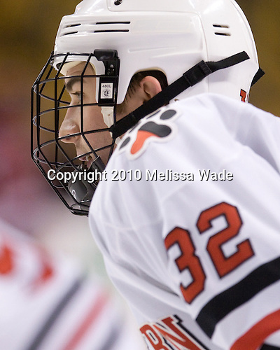 Dylan Wiwchar (NU - 32) - The Northeastern University Huskies defeated the Harvard University Crimson 4-1 (EN) on Monday, February 8, 2010, at the TD Garden in Boston, Massachusetts, in the 2010 Beanpot consolation game.