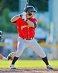 8 July 2012: State College Spikes outfielder Tyler Gaffney in action against the Vermont Lake Monsters at Centennial Field in Burlington, Vermont. The Spikes fell to the Lake Monsters 8-2 in NY Penn League action. Mandatory Credit: Ed Wolfstein Photo