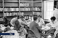Students study in the library of Lynchburg Baptist College in 1975.