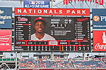 11 September 2016: Philadelphia Phillies outfielder and Baseball America top prospect Roman Quinn appears on the scoreboard as he makes his major league debut against the Washington Nationals at Nationals Park in Washington, DC. The Nationals edged out the Phillies 3-2 to take the rubber match of their 3-game series. Mandatory Credit: Ed Wolfstein Photo *** RAW (NEF) Image File Available ***