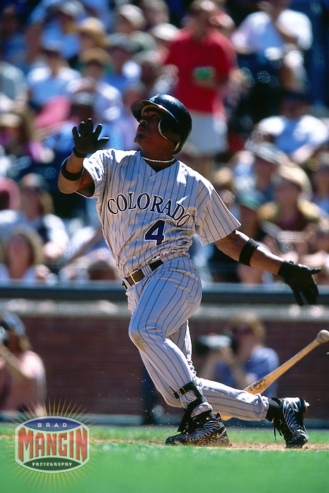 SAN FRANCISCO, CA - Juan Uribe of the Colorado Rockies bats during a game against the San Francisco Giants at Pacific Bell Park in San Francisco, California on September 3, 2001. Photo by Brad Mangin