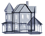 X-ray image of a paper house (blue on white) by Jim Wehtje, specialist in x-ray art and design images.