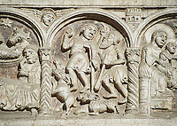 Scenes from the life of Christ, the work of the sculptor Nicholaus, on the main portal  of the 12th century Romanesque Ferrara Duomo, Italy