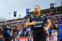 Ross Batty and the rest of the Bath Rugby team run out onto the field. European Rugby Champions Cup match, between Bath Rugby and Wasps on December 19, 2015 at the Recreation Ground in Bath, England. Photo by: Patrick Khachfe / Onside Images