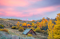 Autumn sunset in Teton Valley Idaho as the sun sets over the Grand Tetons.