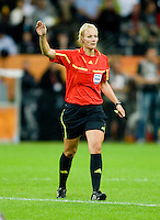 Bibiana Steinhaus.  Japan won the FIFA Women's World Cup on penalty kicks after tying the United States, 2-2, in extra time at FIFA Women's World Cup Stadium in Frankfurt Germany.