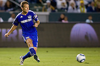 of Kansas City Wizards midfielder Jimmy Conrad passes off the ball. The Kansas City Wizards beat the LA Galaxy 2-0 at Home Depot Center stadium in Carson, California on Saturday August 28, 2010.