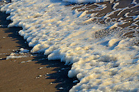 Strong winds whip up a froth of sea foam at Santa Monica beach on Sunday, March 18, 2012..