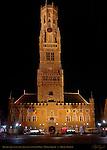 Belfort Bell Tower and Cloth Hall 1240, North Side at Night, Market Square, Bruges, Brugge, Belgium