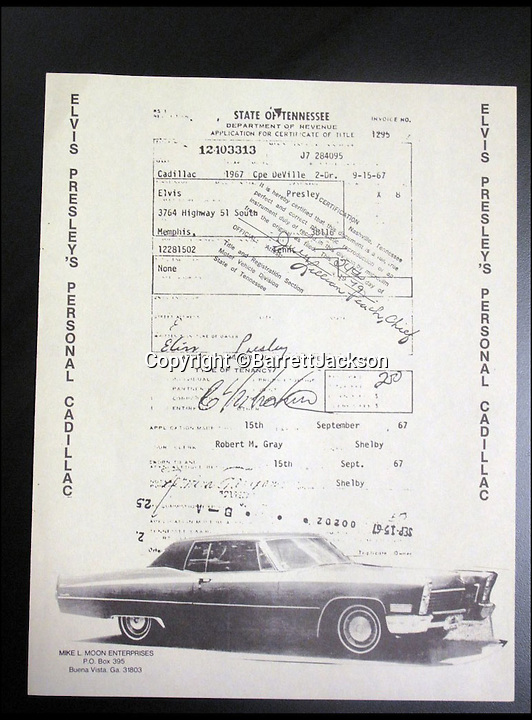 BNPS.co.uk (01202 558833)<br /> Pic: BarrettJAckson/BNPS<br /> <br /> ***Please Use Ful Byline***<br /> <br /> The sales document for Elvis Preserly's Cadillac. <br /> <br /> A plush red Cadillac which Elvis Presley bought to drive on his honeymoon with Priscilla has sold for a whopping 55,000 pounds.<br /> <br /> The King snapped up the bright red motor after marrying wife Priscilla in Las Vegas on May 1, 1967 and the pair were often seen driving it around Memphis, home to Elvis' legendary Graceland mansion.<br /> <br /> The couple, who were married for six years, also used to drive the car to Elvis' 163-acre Circle G ranch in Mississippi where they spent some of their honeymoon.<br /> <br /> The 1967 Cadillac Coupe de Ville was bought by a private collector at a sale in Las Vegas held by classic car auctioneers Barrett Jackson.