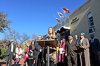 Catherine Orsborn (pictured), Campaign Director of Shoulder to Shoulder, an interfaith organization dedicated to ending anti-Muslim bigotry, speaks at a press conference calling on President-elect Donald Trump to respect religious liberty. In the aftermath of the election and in response to the rising hate crimes against Muslims, national Christian and Jewish leaders joined their Muslim colleagues at Masjid Muhammad in Washington, D.C. on Friday, November 18, 2016 for the daily Muslim prayer service.<br /> Credit: Ron Sachs / CNP /MediaPunch