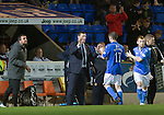 St Johnstone v Motherwell....31.10.14   SPFL<br /> Tommy Wright congratulates James McFadden as he is subbed by Liam Caddis<br /> Picture by Graeme Hart.<br /> Copyright Perthshire Picture Agency<br /> Tel: 01738 623350  Mobile: 07990 594431