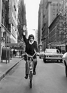 New York City, USA. October 1st, 1971. Enrico Macias rides a bicycle in New York City.