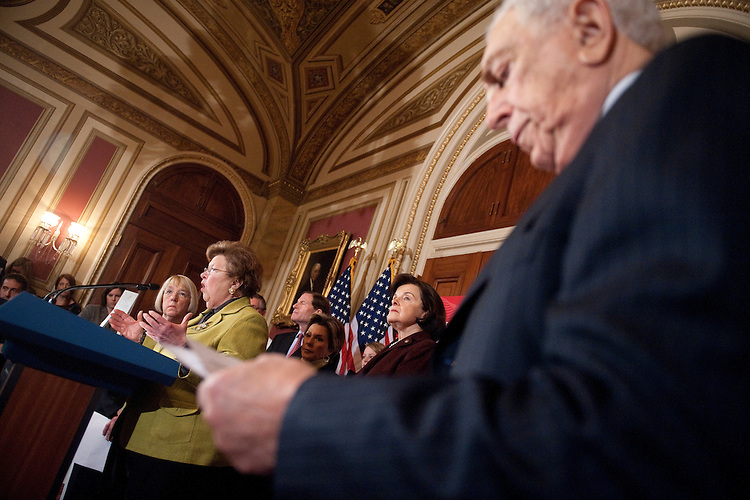 UNITED STATES – FEBRUARY 29: Sen. Barbara Mikulski, D-Md., speaks during the Senate Democrats' news conference to oppose a Republican amendment to the transportation reauthorization bill on Wednesday, Feb. 29, 2012. Also pictured from left are Sens. Patty Murray, Richard Blumenthal, Barbara Boxer, Dianne Feinstein and Frank Lautenberg. (Photo By Bill Clark/CQ Roll Call)