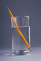 Refraction of a pencil in a glass of water.