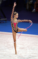 Sep 28, 2000; SYDNEY, AUSTRALIA:<br /> Emilie Livingston of Canada performs with rope during rhythmic gymnastics qualifying at 2000 Summer Olympics.