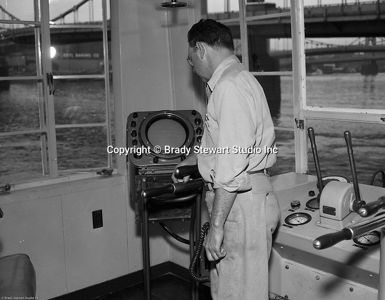 Pittsburgh PA:  Public Relations assignment for WW Patterson Company; a manufacturer of Towboat and Barge Winches - 1955. View of the radar system on the new Campbell Barge Lines, Lady Jane. Manufactured locally by Dravo for use in a contract for the Army Corp of Engineers.  The new towboat had all the new bells and whistles including state-of-the-art radar.