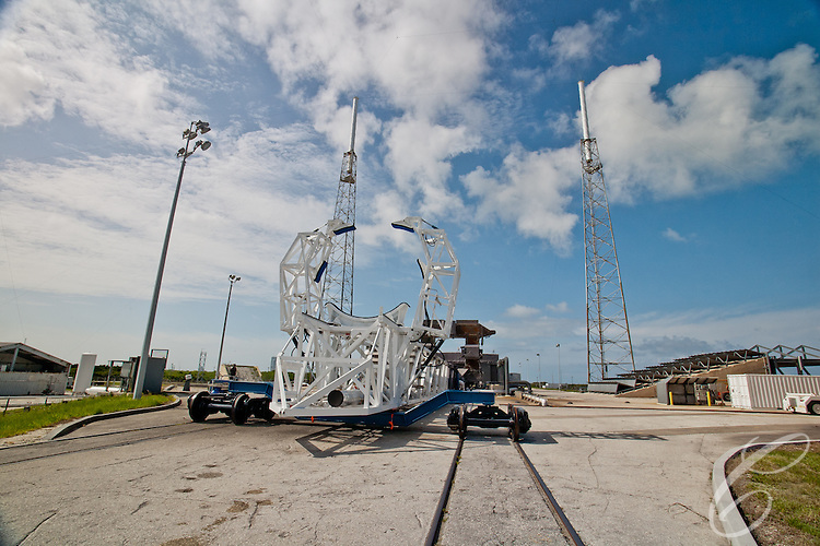 The Launch support structure at SpaceX's Launch Complex 40   at  Cape Canaveral, Florida sits on rails. The Launch support structure at SpaceX's Launch Complex 40   at  Cape Canaveral, Florida sits on rails. The rails allow the the rocket to be quickly rolled from the hangar to the pad before erecting it to the vertical position.