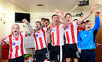 Lincoln City players, from left, Bradley Wood, Jonny Margetts, Josh Ginnelly, Matt Rhead, Callum Howe and Harry Anderson celebrate in the changing room after the game<br /> <br /> Photographer Chris Vaughan/CameraSport<br /> <br /> Vanarama National League - Lincoln City v Macclesfield Town - Saturday 22nd April 2017 - Sincil Bank - Lincoln<br /> <br /> World Copyright &copy; 2017 CameraSport. All rights reserved. 43 Linden Ave. Countesthorpe. Leicester. England. LE8 5PG - Tel: +44 (0) 116 277 4147 - admin@camerasport.com - www.camerasport.com