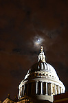 St Paul's Cathedral, London, against a backdrop of a full moon and the planet Jupiter, October 2011