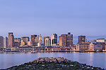 Sunrise on the Boston Harbor waterfront, Boston, Massachusetts, USA