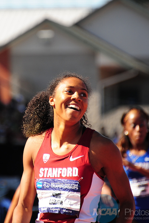 07 JUNE 2013:   Cori Carter of Stanford University competes in the 400 meter hurdles during the Division I Men's and Women's Outdoor Track & Field Championship held at Hayward Field on the University of Oregon campus in Eugene, OR.  Carter won the event with a 53.21M time.  Chris Steppig/NCAA Photos