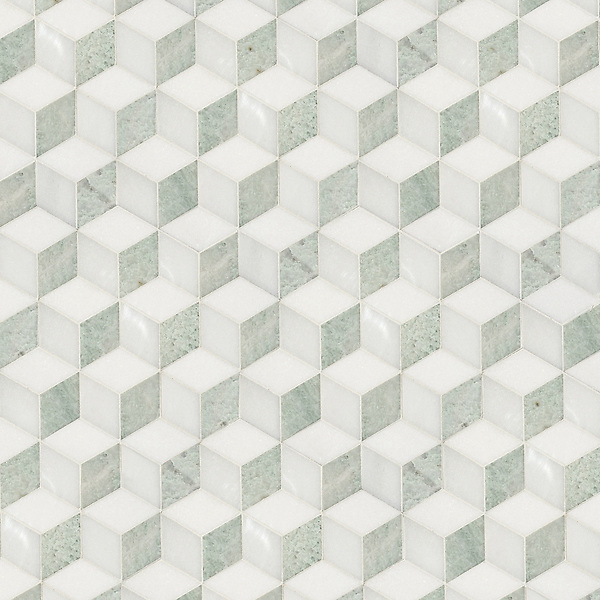 Euclid, a hand-cut stone mosaic, shown in polished Thassos, Paperwhite and Ming Green, is part of the Illusions™ Collection by Sara Baldwin Designs for New Ravenna.