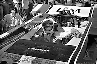 Jackie Stewart waiting to drive the 1971 L&M Lola Chevrolet SCCA Can-Am car at Le Circuit Mont Tremblant/St. Jovite, Quebec, Canada.