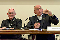 Roma 19 Ottobre 2015<br /> Conferenza stampa di presentazione della Guida agli eventi della diocesi di Roma per il Giubileo della misericordia. Cardinale  Augusto Vallini  vicario del Papa per la diocesi di Roma con Monsignor Liberio Andreatta, Vice Presidente e Amministratore Delegato Opera Romana Pellegrinaggi.<br /> Rome 19 October 2015<br /> Press conference to present the Events Guide of the Diocese of Rome for the Holy Year of Mercy. Cardinal Augusto Vallini the Pope's vicar for the diocese of Rome with Monsignor Liberio Andreatta, Vice President and Managing Director Opera Romana Pilgrimages.