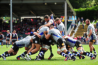Bath Rugby forwards warm up prior to the match. Pre-season friendly match, between the Scarlets and Bath Rugby on August 20, 2016 at Eirias Park in Colwyn Bay, Wales. Photo by: Patrick Khachfe / Onside Images