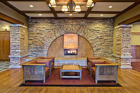 The massive stone fireplace in the lobby of the DoubleTree by Hilton Hotel Libertyville - Mundelein, IL