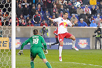 Juan Pablo Angel (9) of the New York Red Bulls heads the ball for a goal. The San Jose Earthquakes defeated the New York Red Bulls 3-1, (3-2) on aggregate during the 2nd leg of the Major League Soccer (MLS) Eastern Conference Semifinals at Red Bull Arena in Harrison, NJ, on November 04, 2010.